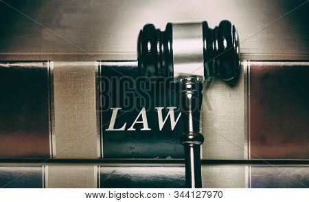 Law or law books and gavel
