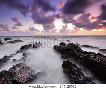 Long Exposure Shot Of Seascape During Monsoon Season At West Coast Of Malaysia.