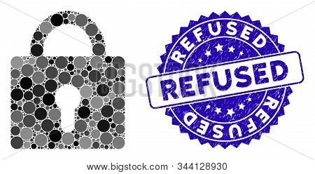 Mosaic Lock Icon And Grunge Stamp Seal With Refused Phrase. Mosaic Vector Is Formed With Lock Icon A