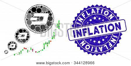Mosaic Dashcoin Inflation Chart Icon And Grunge Stamp Seal With Inflation Text. Mosaic Vector Is For