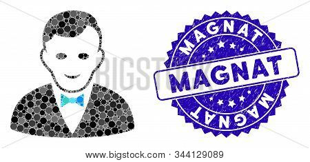 Mosaic Croupier Manager Icon And Rubber Stamp Seal With Magnat Caption. Mosaic Vector Is Designed Fr