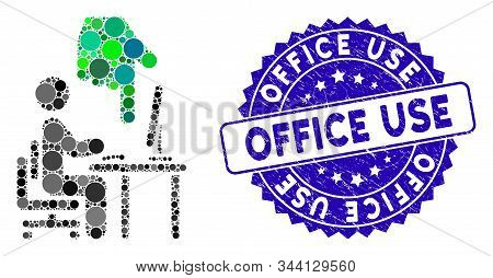 Mosaic Office Use Icon And Grunge Stamp Watermark With Office Use Text. Mosaic Vector Is Created Wit