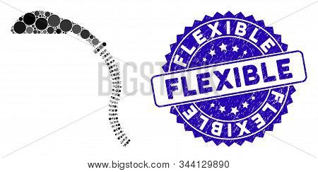 Collage Flexible Shower Icon And Corroded Stamp Seal With Flexible Text. Mosaic Vector Is Composed W