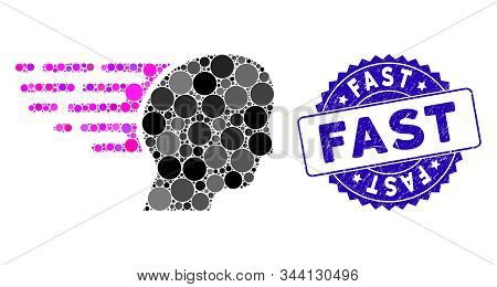 Mosaic Fast Thinking Icon And Corroded Stamp Seal With Fast Caption. Mosaic Vector Is Designed With