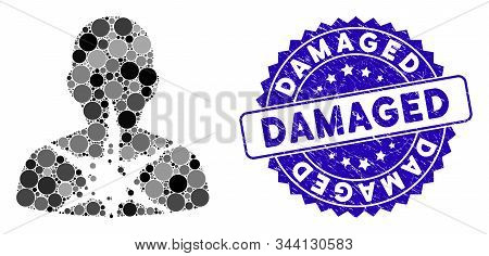 Mosaic Cancer Damaged Patient Icon And Corroded Stamp Seal With Damaged Caption. Mosaic Vector Is De