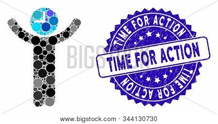 Collage Time Boss Icon And Corroded Stamp Seal With Time For Action Text. Mosaic Vector Is Designed
