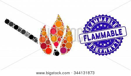 Mosaic Burn Match Icon And Rubber Stamp Seal With Flammable Text. Mosaic Vector Is Formed With Burn