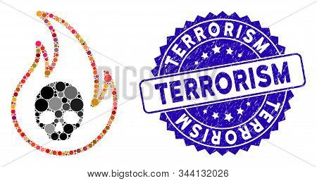 Mosaic Hell Fire Icon And Distressed Stamp Seal With Terrorism Phrase. Mosaic Vector Is Designed Wit