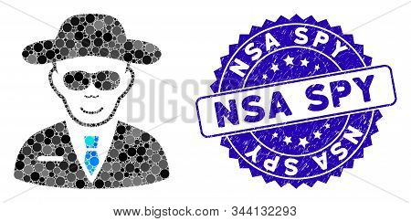 Mosaic Spy Icon And Grunge Stamp Seal With Nsa Spy Caption. Mosaic Vector Is Created With Spy Icon A