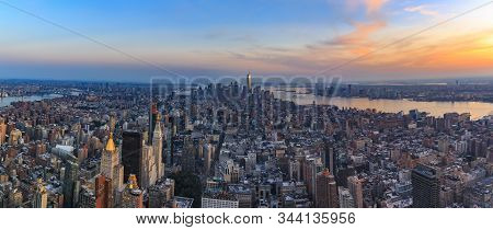 Sunset Panorama Of New York Downtown, Lower Manhattan Skyline With The One World Trade Center Skyscr