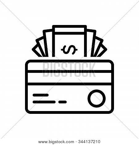 Black Line Icon For Credit Card Cash Finance Transaction Debit