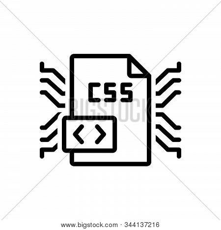Black Line Icon For Css Coding  Programming Language Developer Html Javascript