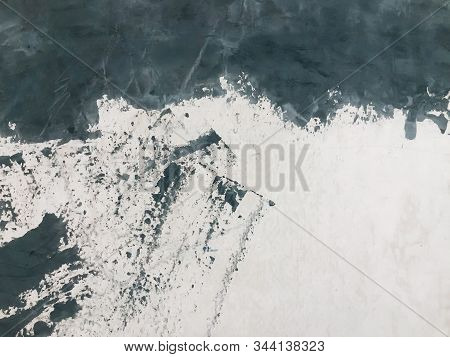 Brush Stroked Painting., Abstract Background, Black Acrylic Paint Stroke Texture On White Paper. Sca