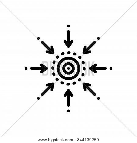 Black Line Icon For Centrality Central Connect Linked Technology