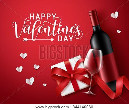 Valentines Day Vector Banner Template. Happy Valentines Day Greeting Typography With Valentine Eleme