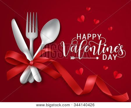 Valentines Romantic Dating Vector Banner Template. Happy Valentines Day Greeting Text With Dating El