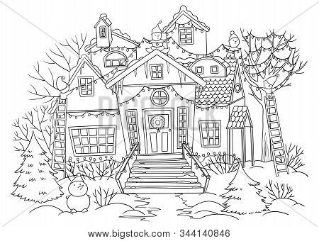 Gnomes Decorating House With Christmas Lights Outdoors. Snowy House, Fir-trees, Snowman In Christmas