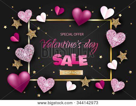 Elegant Happy Valentine's Day Festive Sparkle Glitter Red Heart. Valentine Day Card Illustration