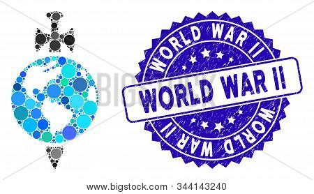 Mosaic Earth Guard Icon And Corroded Stamp Seal With World War Ii Phrase. Mosaic Vector Is Created W