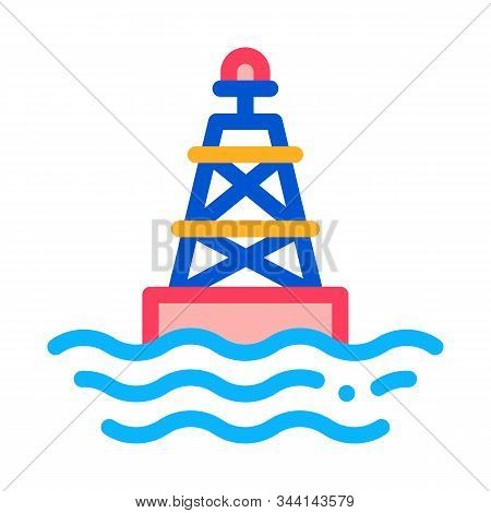 Sea Light Buoy Icon Vector. Outline Sea Light Buoy Sign. Isolated Contour Symbol Illustration