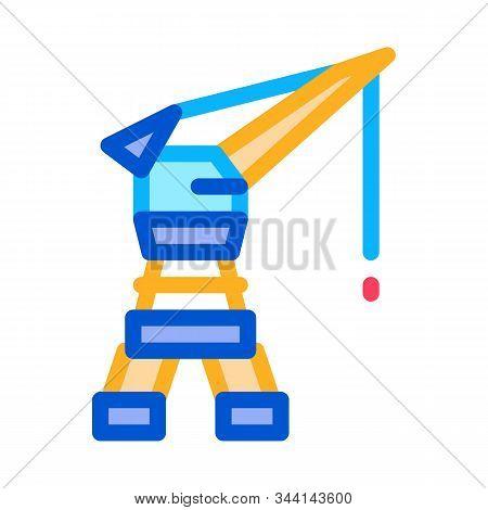 Seaport Crane Icon Vector. Outline Seaport Crane Sign. Isolated Contour Symbol Illustration