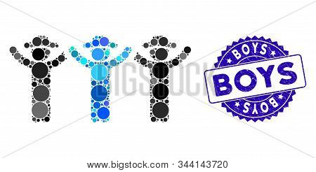 Mosaic Gentlemen Hands Up Roundelay Icon And Rubber Stamp Seal With Boys Phrase. Mosaic Vector Is De