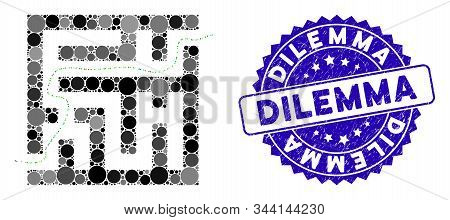 Mosaic Labyrinth Route Icon And Distressed Stamp Seal With Dilemma Text. Mosaic Vector Is Designed W