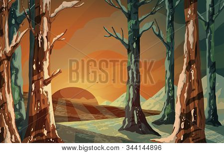 Winter Landscape With Snowy Hills, Trees, Flying Birds And Sunrise Or Sunset. Beautiful Forest Scene