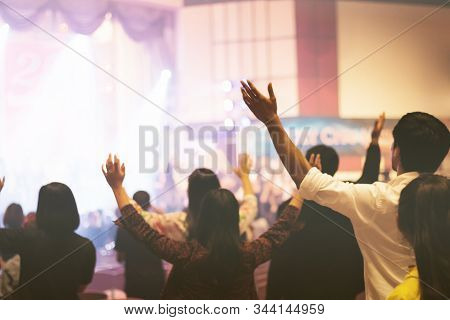 Christian Worship With Raised Hand In Church,music Concert.