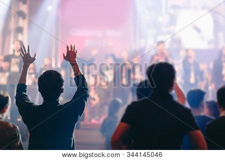 Christian Worship With Raised Hands ,music Concert,prayer,church.
