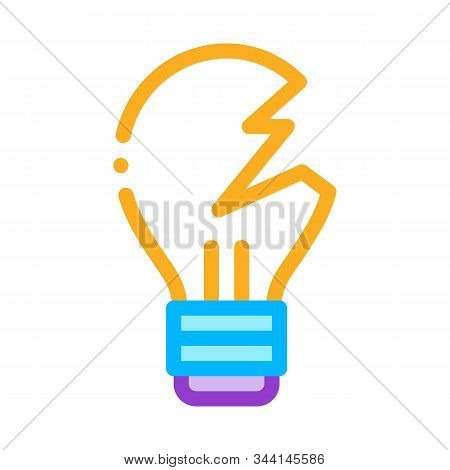 Wrecked Lightbulb Icon Vector. Outline Wrecked Lightbulb Sign. Isolated Contour Symbol Illustration