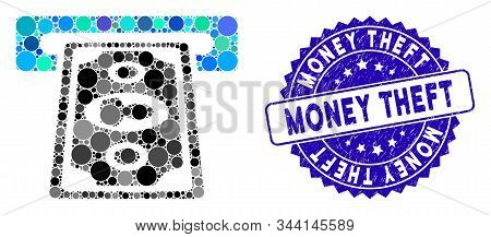 Mosaic Cashpoint Terminal Icon And Grunge Stamp Watermark With Money Theft Phrase. Mosaic Vector Is