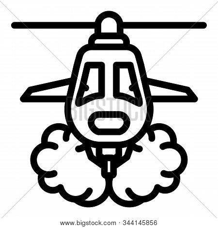 Wildfire Helicopter Icon. Outline Wildfire Helicopter Vector Icon For Web Design Isolated On White B