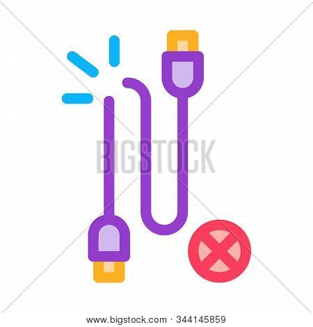 Cable Breakdown Icon Vector. Outline Cable Breakdown Sign. Isolated Contour Symbol Illustration