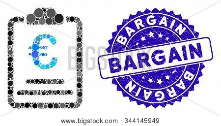Mosaic Euro Prices Icon And Grunge Stamp Seal With Bargain Text. Mosaic Vector Is Formed From Euro P