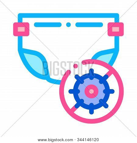 Microbe Diaper Icon Vector. Outline Smelly Diaper Sign. Isolated Contour Symbol Illustration