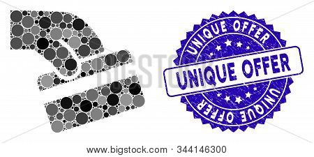 Mosaic Pay Card Icon And Rubber Stamp Watermark With Unique Offer Phrase. Mosaic Vector Is Composed