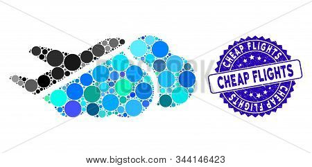 Mosaic Airplane Over Clouds Icon And Grunge Stamp Seal With Cheap Flights Text. Mosaic Vector Is Cre