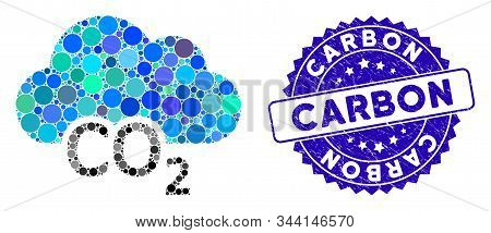Mosaic Carbon Cloud Icon And Distressed Stamp Seal With Carbon Caption. Mosaic Vector Is Formed From