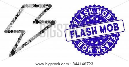Mosaic Flash Icon And Distressed Stamp Seal With Flash Mob Phrase. Mosaic Vector Is Composed With Fl