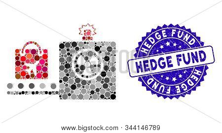 Mosaic Baggage Screening Icon And Grunge Stamp Seal With Hedge Fund Caption. Mosaic Vector Is Formed