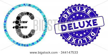 Mosaic Euro Coin Icon And Corroded Stamp Seal With Deluxe Text. Mosaic Vector Is Designed With Euro