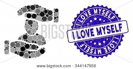 Collage User Care Hands Icon And Distressed Stamp Seal With I Love Myself Text. Mosaic Vector Is Com