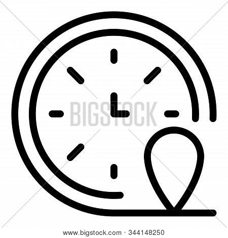 Franchise Clock Time Icon. Outline Franchise Clock Time Vector Icon For Web Design Isolated On White