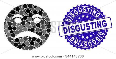 Mosaic Angry Smiley Icon And Rubber Stamp Seal With Disgusting Text. Mosaic Vector Is Designed With