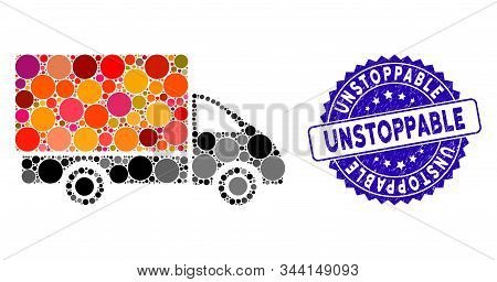 Mosaic Shipment Car Icon And Rubber Stamp Seal With Unstoppable Caption. Mosaic Vector Is Designed W