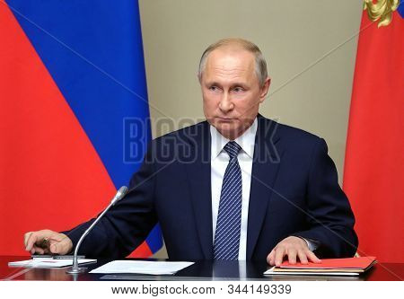 Moscow,russia,august 2019,russian President Vladimir Putin Talks About Nuclear Demise With Us