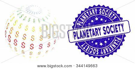 Collage Abstract Dollar Sphere Icon And Corroded Stamp Seal With Planetary Society Caption. Mosaic V