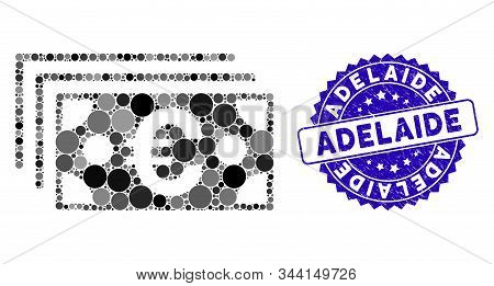 Mosaic Euro Banknotes Icon And Rubber Stamp Seal With Adelaide Caption. Mosaic Vector Is Created Wit