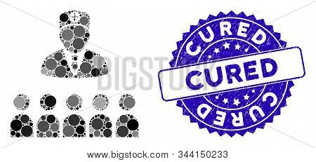 Mosaic Doctor Class Icon And Grunge Stamp Watermark With Cured Text. Mosaic Vector Is Composed With